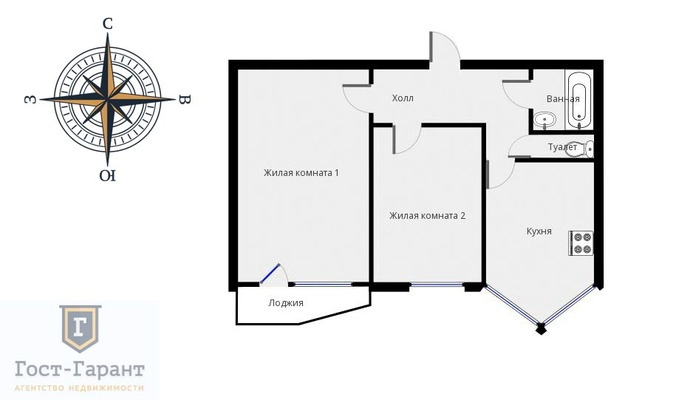 Адрес: Кашенкин Луг улица, дом 8к3, агентство недвижимости Гост-Гарант, планировка: П-44Т, комнат: 2. Фото 13