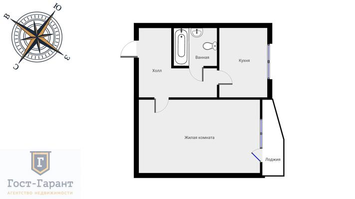 Адрес: Главмосстроя улица, дом 4к1, агентство недвижимости Гост-Гарант, планировка: П-44Т, комнат: 1. Фото 9