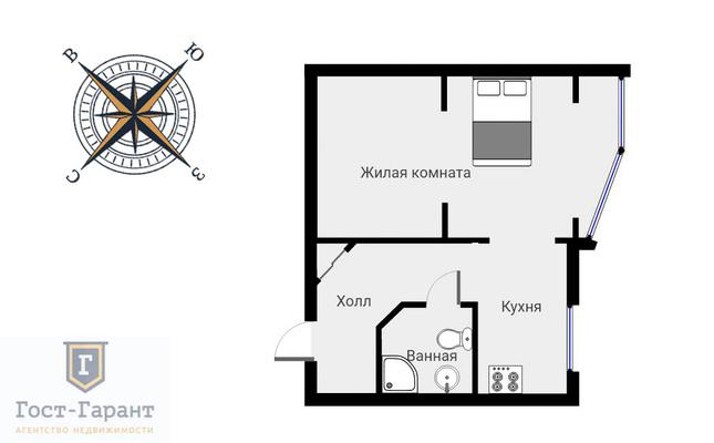 Адрес: Братиславская улица, дом 26, агентство недвижимости Гост-Гарант, планировка: П-44, комнат: 1. Фото 7