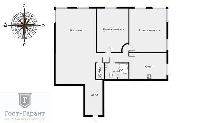 Адрес: Минская улица, дом 1Гк1, агентство недвижимости Гост-Гарант, планировка: Индивидуальный проект, комнат: 3. Фото 20