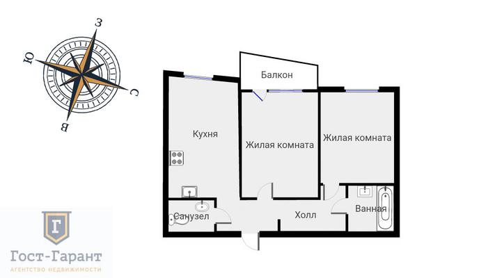 Адрес: Лобачевского улица, дом 118к1, агентство недвижимости Гост-Гарант, планировка: Индивидуальный проект, комнат: 2. Фото 13