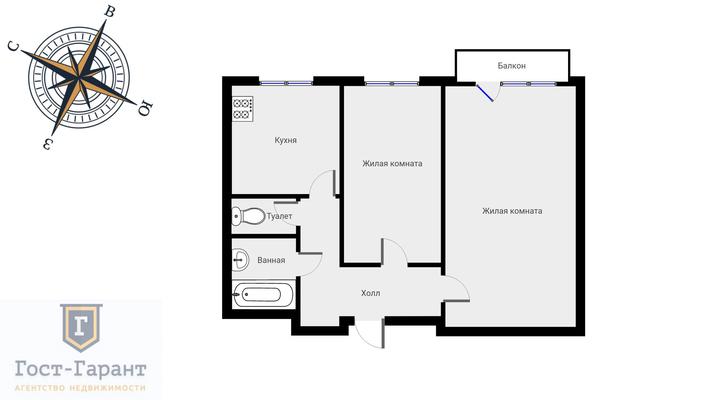 Адрес: Украинский бульвар, дом 6, агентство недвижимости Гост-Гарант, планировка: п 29, комнат: 2. Фото 15