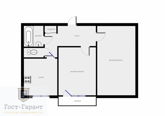 Адрес: Крылатские Холмы улица, 26к1, агентство недвижимости Гост-Гарант, планировка: И-1233, комнат: 2. Фото 9