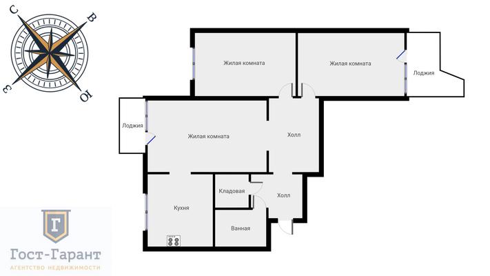 Адрес: Профсоюзная улица, дом 8к2, агентство недвижимости Гост-Гарант, планировка: п3, комнат: 3. Фото 19