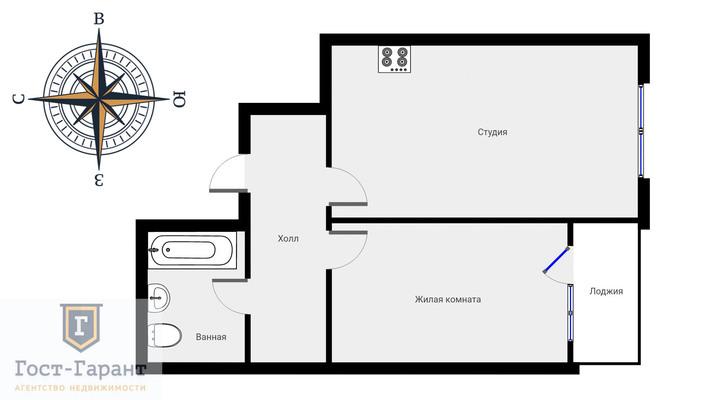 Адрес: Сельскохозяйственная улица, дом 38к1, агентство недвижимости Гост-Гарант, планировка: Индивидуальный проект, комнат: 2. Фото 13