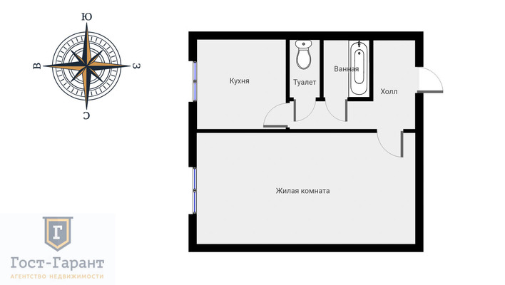 Адрес: Лескова улица, дом 10А, агентство недвижимости Гост-Гарант, планировка: п 49, комнат: 1. Фото 10