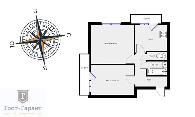 Адрес: Яна Райниса бульвар, дом 16к1, агентство недвижимости Гост-Гарант, планировка: II-18/12, комнат: 2. Фото 14
