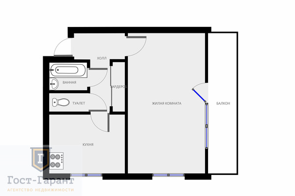 Адрес: Борисовский проезд, 44к3, агентство недвижимости Гост-Гарант, планировка: 1605-АМ, комнат: 1. Фото 9