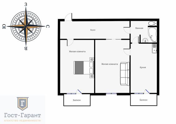 Адрес: Проспект Мира, дом 85, агентство недвижимости Гост-Гарант, планировка: Индивидуальный проект, комнат: 2. Фото 11