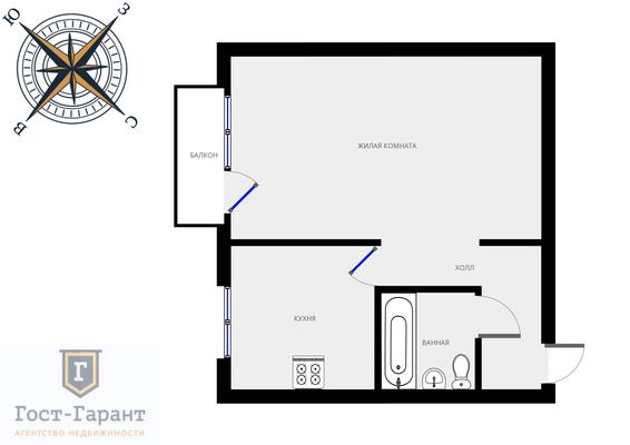 Адрес: Флотская улица, дом 44, агентство недвижимости Гост-Гарант, планировка: П-29 ( II-29), комнат: 1. Фото 9